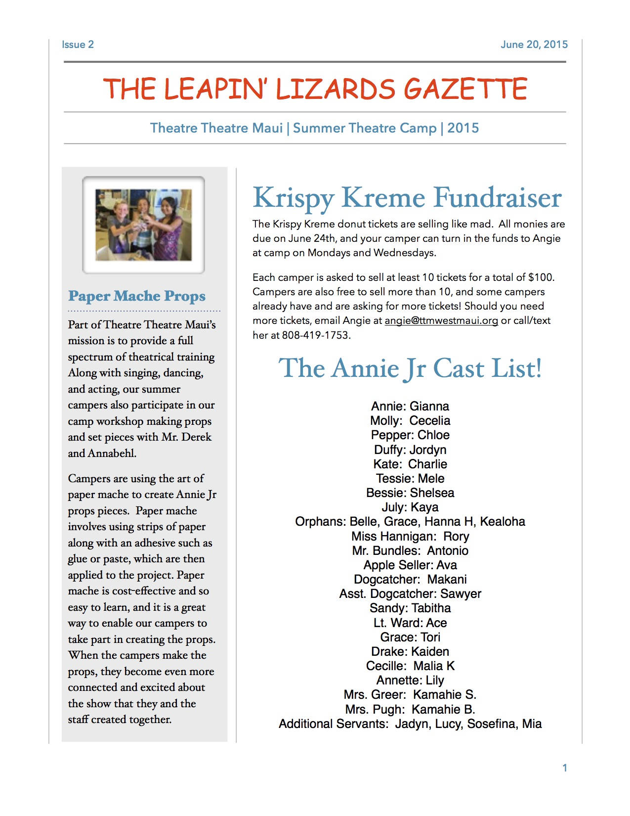 Issue #2 of the Leapin' Lizards Gazette Camp Newsletter
