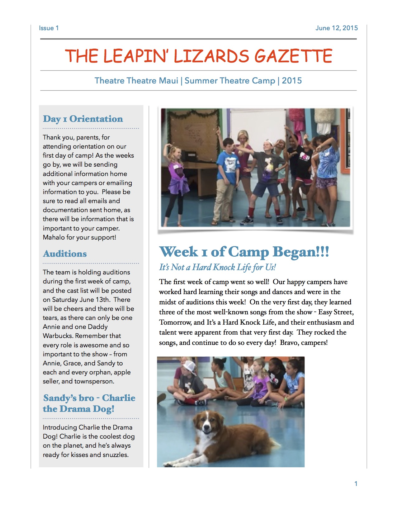 Issue 1 of the Leapin' Lizards Gazette Newsletter!